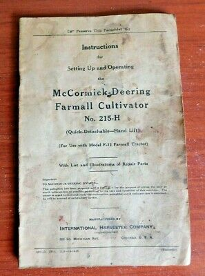 Mccormick-deering Farmall Cultivator 215-h- For F-12 Tractor - 1935 Instr Manual