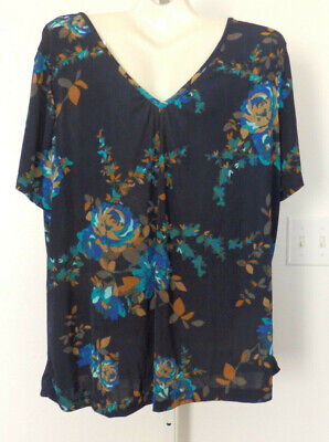 Jaclyn Smith Womens Plus Short Sleeve Slinky V Neck Shell Blouse *Size:2X Short Sleeve Womens Shell