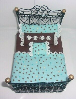 1:12 SCALE DOLLHOUSE MINIATURE 5 pc. Black Metal Bed with Handmade Mattress Set