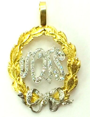 Custom made 14K two tone gold Diamond ribbon bow flower pendant..6.5gm..