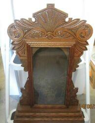 Vintage Clock CASE Kitchen Gingerbread Mantle Wood Glass GOLD DECAL