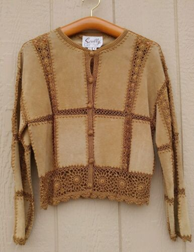 SCULLY Suede Leather Crochet Cardigan Jacket Size