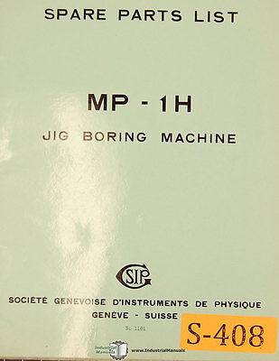 Sip Mp-1h Jig Boring Machine Spare Parts Manual