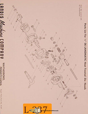 Landis Landmatic Heat Treated Die Heads Parts List Manual