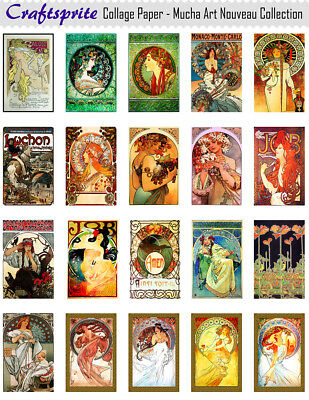 High Quality Printed Collage Sheet - Mucha Art Nouveau - 8.5