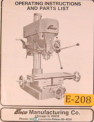 Enco 1 14 Complex Drilling And Milling Machine Operations And Parts Manual