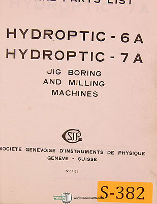Sip 6a And 7a Jig Boring Milling Spare Parts Manual