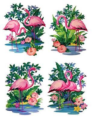 Set of 4 Pink Flamingo Waterslide Decals #10