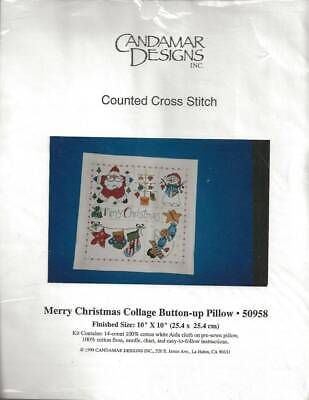 Merry Christmas Button Up Pillow Counted Cross Stitch Candamar Designs Counted Cross Stitch Pillow