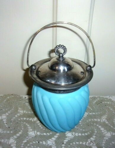 Victorian Blue Swirl Satin Glass Biscuit Jar with Embossed Silver Plate Collar