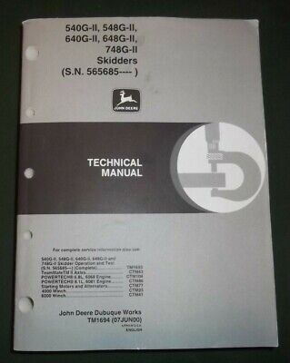 John Deere 540g 548g 640g 648g 748g-ii Skidder Technical Repair Manual Tm1694
