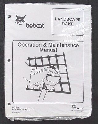 Bobcat Skid Steer Loader Tractor Landscape Rake Operators Manual Sealed