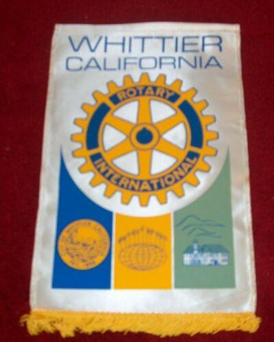 VINTAGE Rotary International Club wall banner flag    WHITTIER CALIFORNIA