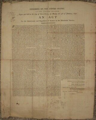 1790, Broadside, Congress Seaman's Act, signed in type by George Washington