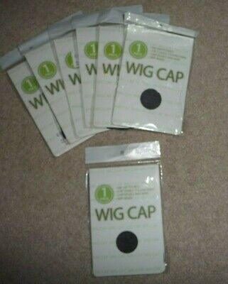 Lot 7 New Unisex Black Ultra Stretch Wig Liner Stocking Nylon Caps NEW for sale  Shipping to Nigeria