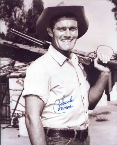 Chuck Connors (D.) signed 8x10 photo as RIFLEMAN -Brooklyn Dodger & Cubs (#4)