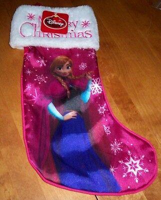 WALT DISNEY FROZEN Anna Satin Plush Merry Christmas Holiday Stocking NEW TAGS