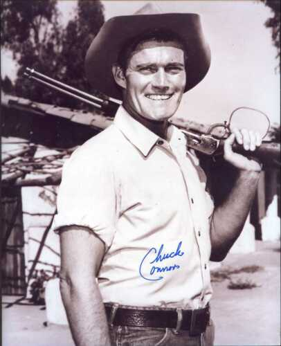 Chuck Connors (D.) signed 8x10 photo as RIFLEMAN -Brooklyn Dodger & Cubs (#1)