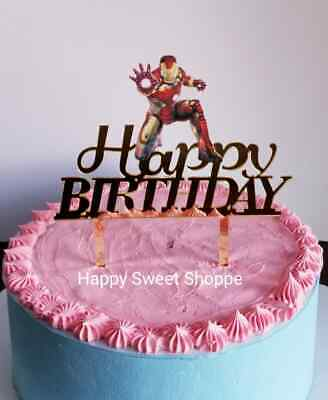 NEW Acrylic Iron Man Happy Birthday Cake Topper