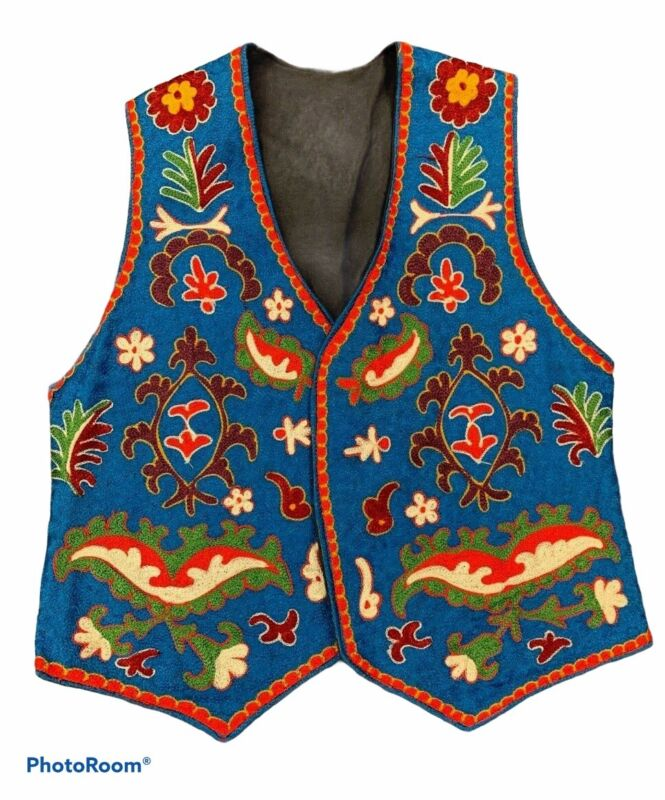 Vintage Embroidered Vest Hippie Gypsy Shirt Blue Floral Chili Pepper Paisley etc