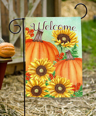 Toland Pumpkins and Sunflowers 12.5 x 18 Fall Autumn Welcome