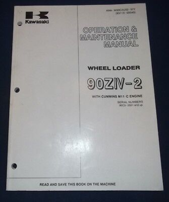 Kawasaki 90ziv-2 Wheel Loader Operator Operation Maintenance Manual Book