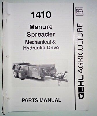 Gehl 1410 Manure Spreader Parts Manual Catalog Book