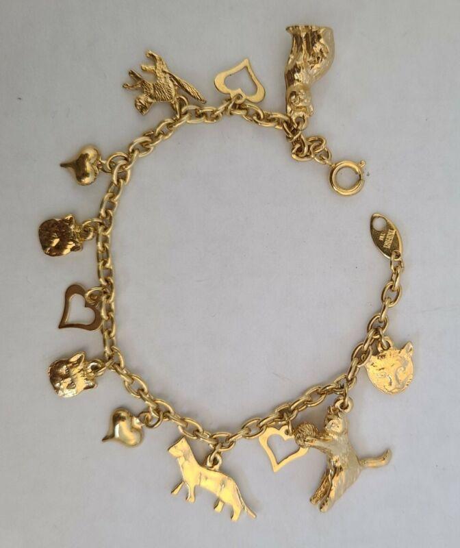 Trifari Gold Tone CAT Lover Heart Charms Vintage Bracelet, Rare