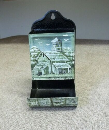 Vintage match holder box with painted barn scene Wall hanging match holder