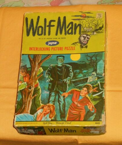 vintage ORIGINAL EMPTY BOX ONLY from 1963 Jaymar WOLFMAN JIGSAW PUZZLE