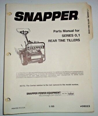 Snapper Series 0 And 1 Rear Tine Tiller Parts Catalog Manual Book 185