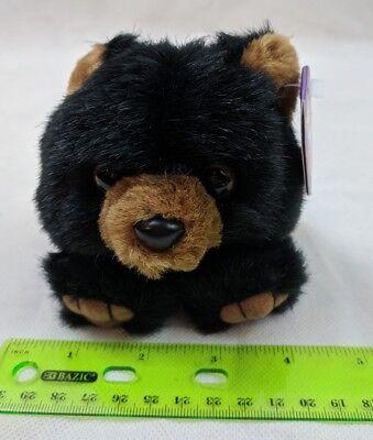 Puffkins Benny the Black Teddy Bear Plush Stuffed Swibco VTG Toy w/ Tag