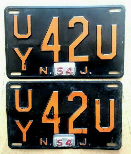 "1952 1954 NEW JERSEY AUTO  LICENSE PLATE PLATES PAIR  "" UY 42 U "" NJ 1954 TAB"