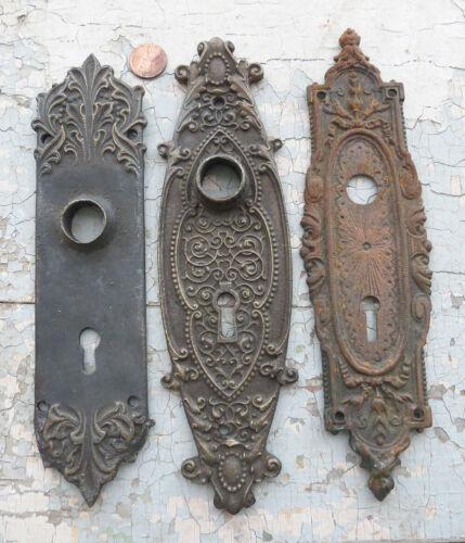 3 Ornate CAST BRONZE & IRON Door Back Plates w Keyholes Mismatched