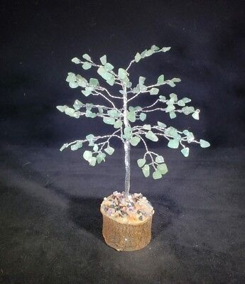 NATURAL GREEN AVENTURINE GEMSTONE CHIP TREE WITH 100 STONES CRYSTAL TREE OF LIFE