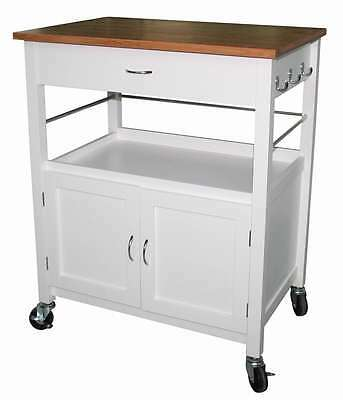 eHemco Kitchen Island with Natural Butcher Block Bamboo Top in White Base
