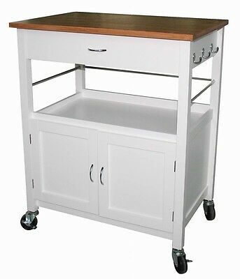 eHemco Kitchen Island Cart with Natural Butcher Block Bamboo Top