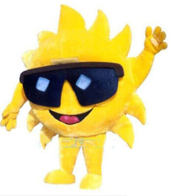 Sun With Sunglasses Mascot Costume Cosplay Suit Fancy Dress Adults Outfit (Cartoon Character With Shades)