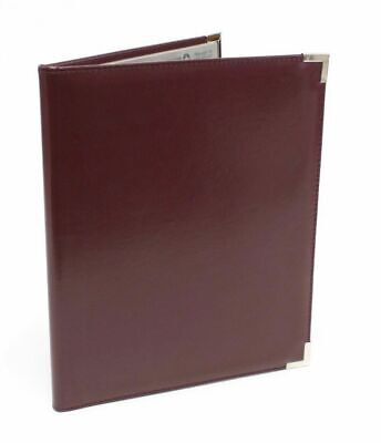 Professional Burgundy Leather Pad Holder Portfolio With Nickel Corners