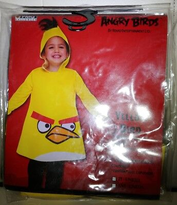 Kids Angry Birds Yellow Bird Toddler Costume with Hood 2T Halloween NEW - Angry Bird Toddler Costume
