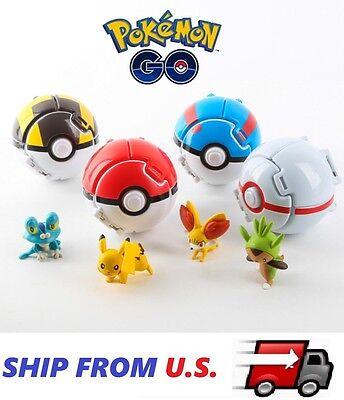 4 X Pokemon Throw Pop Pokeball Cosplay Pop Up Elf Go Fighting Poke Ball Toy Us