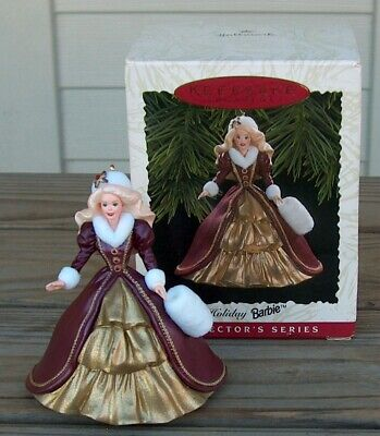 1996 Hallmark Holiday Barbie # 4 Christmas Ornament Gold Maroon Box QX15371