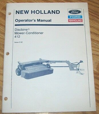 New Holland 412 Discbine Mower Conditioner Operators Manual 42041210 Ford Nh