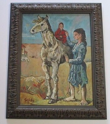 Vintage Picasso Style Painting Signed Wiebe Abstract Modernist Woman Child Horse