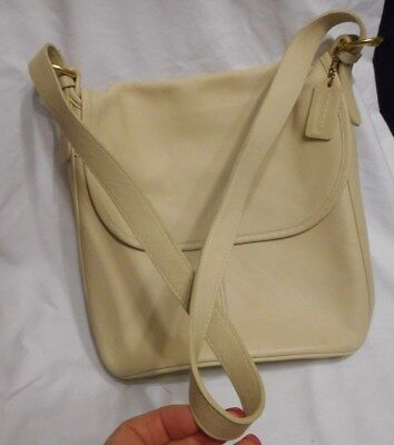Coach Leather Legacy Classic Hobo Bucket Flap Over Handbag Adj Strap Ivory Color