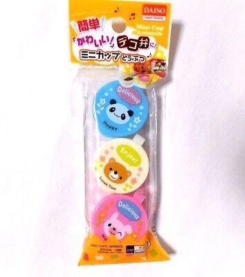 Japan BENTO Animal Side Dish Food Mini Cup Sauce Case 3pcs Lunch Box