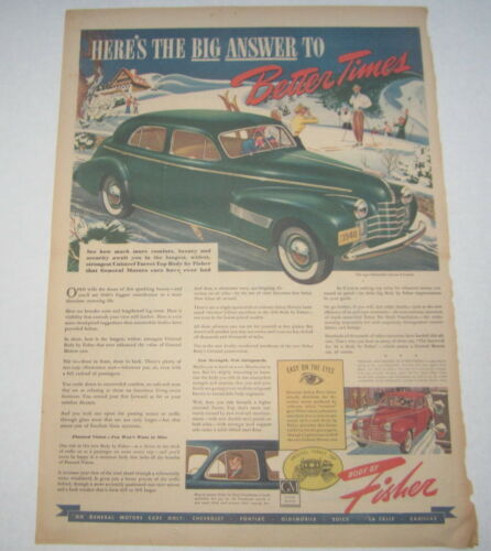 Old Vintage 1940 - OLDSMOBILE Custom 8 Auto - Poster-Size Advertisement - Fisher