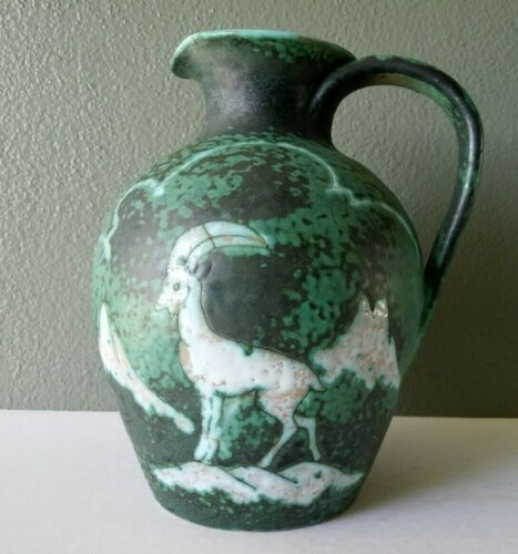 MID CENTURY ITALIAN ART POTTERY PITCHER w/ MOUNTAIN GOAT