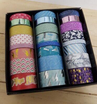 NEU ⭐ Washi Tape Box  #1⭐ 24 Rollen Unterschiedliche Breiten ⭐ Glitzer ⭐⭐