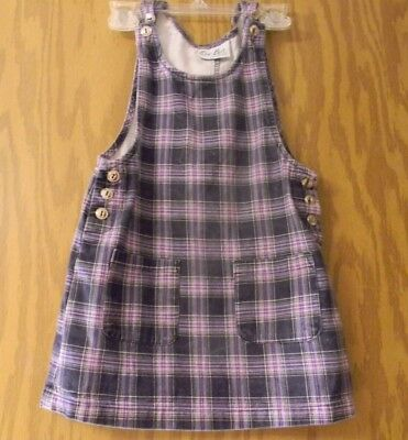 Girl's size 6 purple plaid jumper cotton adjustable silver buttons